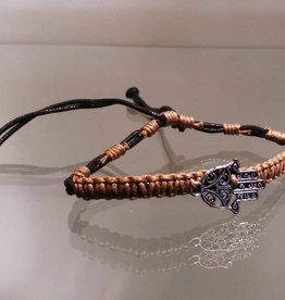 Bracelet - Cotton w/ Silver Plated Hamsa - 4357