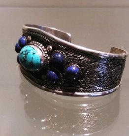 Bracelet - Turquoise & Lapis Cuff - B181
