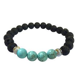 Lava Diffuser Bracelet - Good Luck Turquoise Magnesite - 2793
