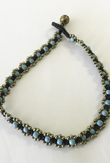 Anklet - Eight Bronze Bead Flower Turquoise - A22013