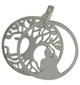 Silver Buddha and Bodhi Tree Sterling Silver Pendant