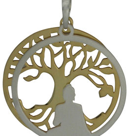 Gold Buddha and Bodhi Tree Sterling Silver Pendant