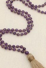 Amethyst Gemstone Knotted Mala, 108 Beads