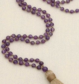 Amethyst Gemstone Knotted Mala, 108 Beads