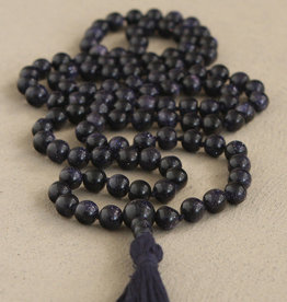 Blue Goldstone Meditation Mala 108 Knotted Beads