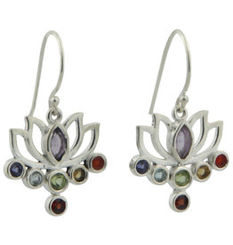 Chakra Gemstone Lotus Sterling Silver Earrings