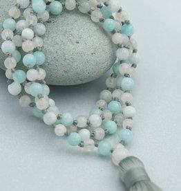 Gemstone Mala- Amazonite, Moonstone, Chalcedony