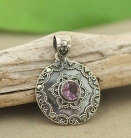 Indian Metalwork with Amethyst Sterling Silver Pendant
