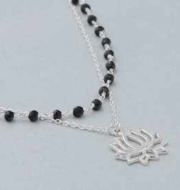 Multi Chain Black Onyx Lotus Necklace