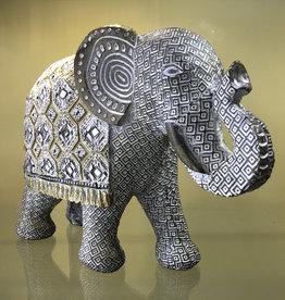 Statue - Elephant w/ Blanket 11 inches L - UPI-555