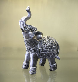 Statue- Elephant - Silver Filigree 6 inches H - LKE-421