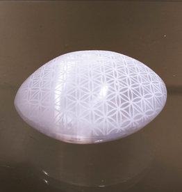 Selenite Laser Engraved Palmstone - Flower of Life