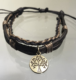 Bracelet- Leather w/Tree of Life Charm- 4354