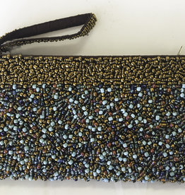 "Beaded Clutch - Blue and Copper 8 x 4.5"" - H1107BC"