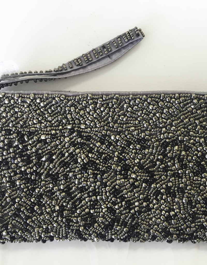 "Beaded Clutch - Pewter 8 x 4.5"" - H1107PW"