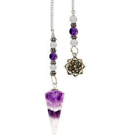 Pendulum - Amethyst, Hexagonal Chevron with Lotus- 61052