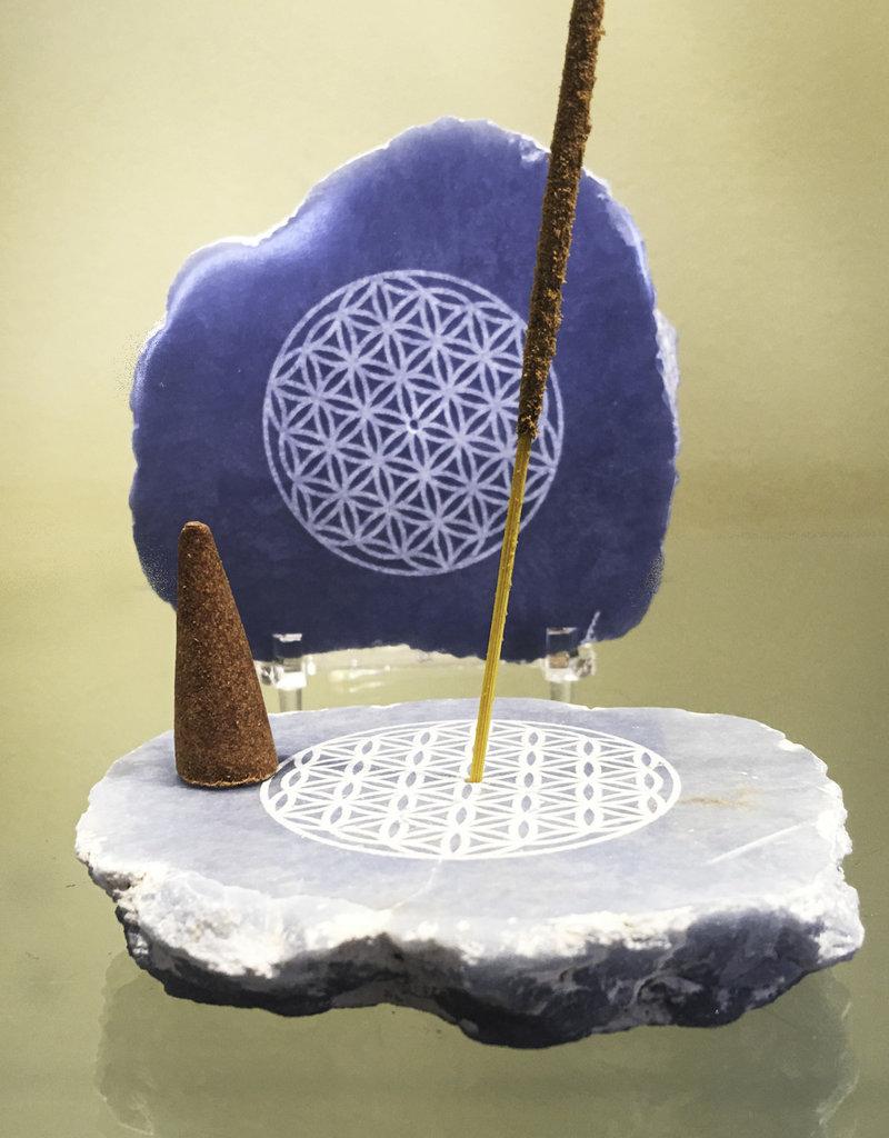 Angelite Slice Incense Holder - Flower of Life - 30754001