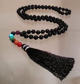 Mala- Black Agate with Chakra Beads