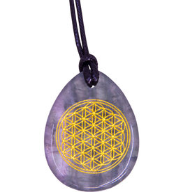 Flower of Life - Rainbow Fluorite Necklace