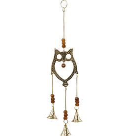 Brass Bell Chime Owl w/ Beads- 31332