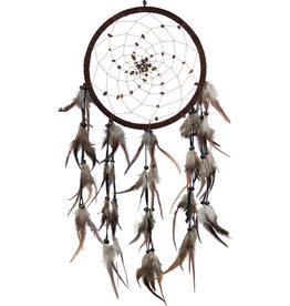 Dream Catcher - Tigers Eye Beads Spiral Web Brown - 30039
