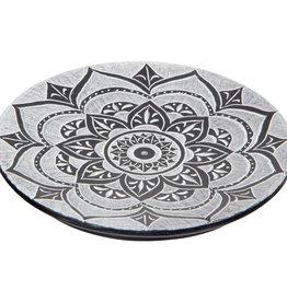 Incense Holder -  Soapstone Round Lotus Mandala - Black - 89551