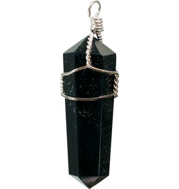 Pendant - Wire Wrapped Black Obsidian - 98987