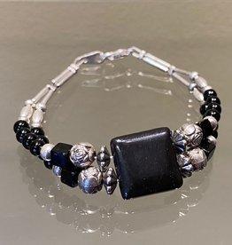 Navajo Double Bracelet - Silver & Stone (C)