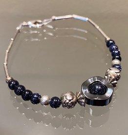 Navajo Bracelet - Silver & Stone (E)