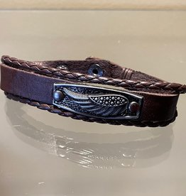 Brown Leather Bracelet with Feather