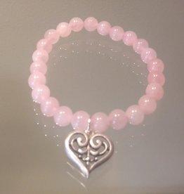 Rose Quartz Love Scroll Heart Mala Bracelet