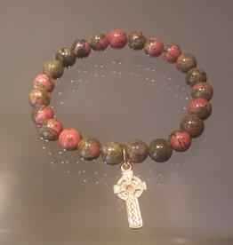 Unakite with Faith Cross Mala Bracelet