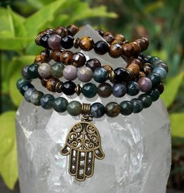Mala - Brown Tiger Eye, Indian Agate, Pyrite, Black Onyx, with Antique Bronze Accents and Bronze Hamsa Hand