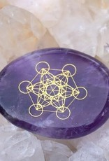 Amethyst Palm Stone with Metatrons Cube