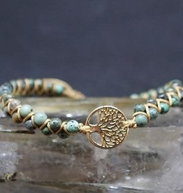 African Turquoise & Tree of Life Charm Bracelet