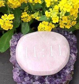 11:11 Rose Quartz Palm Stone