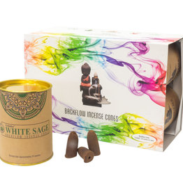 Incense - Goloka White Sage Backflow Cones - 24 per can - 75004