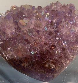 Amethyst Druze Heart- metalic low profile