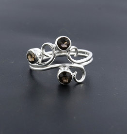 Smoky Quartz and Sterling Silver Ring (Size 9) - R-21152-19-a06