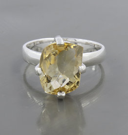 Citrine and Sterling Silver Ring (Size 6) - R-20223-122-22