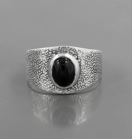 Black Onyx and Sterling Silver Ring (Size -7) - R-22934-02-65