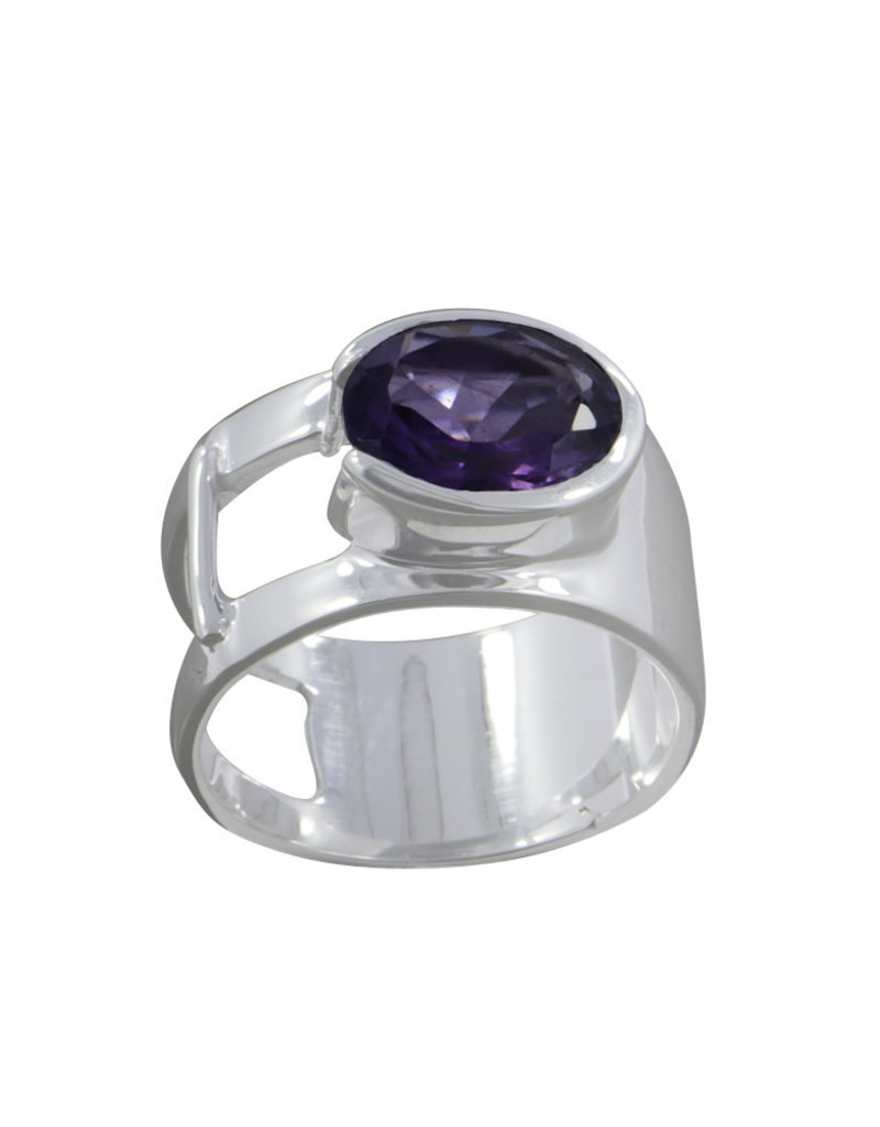 Amethyst and Sterling Silver Ring (Size 7) - R-20230-06-A