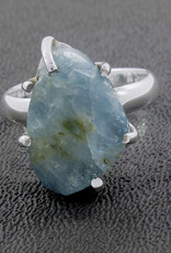 Aquamarine and Sterling Silver Ring (Size 8) - R-23038-04-5