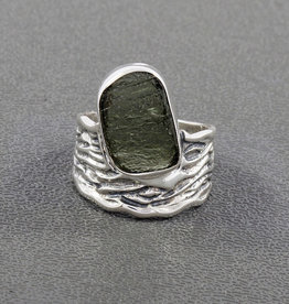 Moldavite and Sterling Silver Ring (Size 9) - R-21902-02-a51