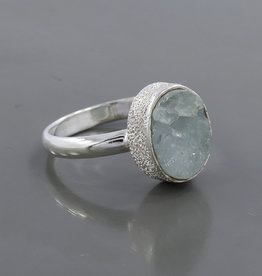 Aquamarine and Sterling Silver Ring (Size 7) - R-23039-06-24-8