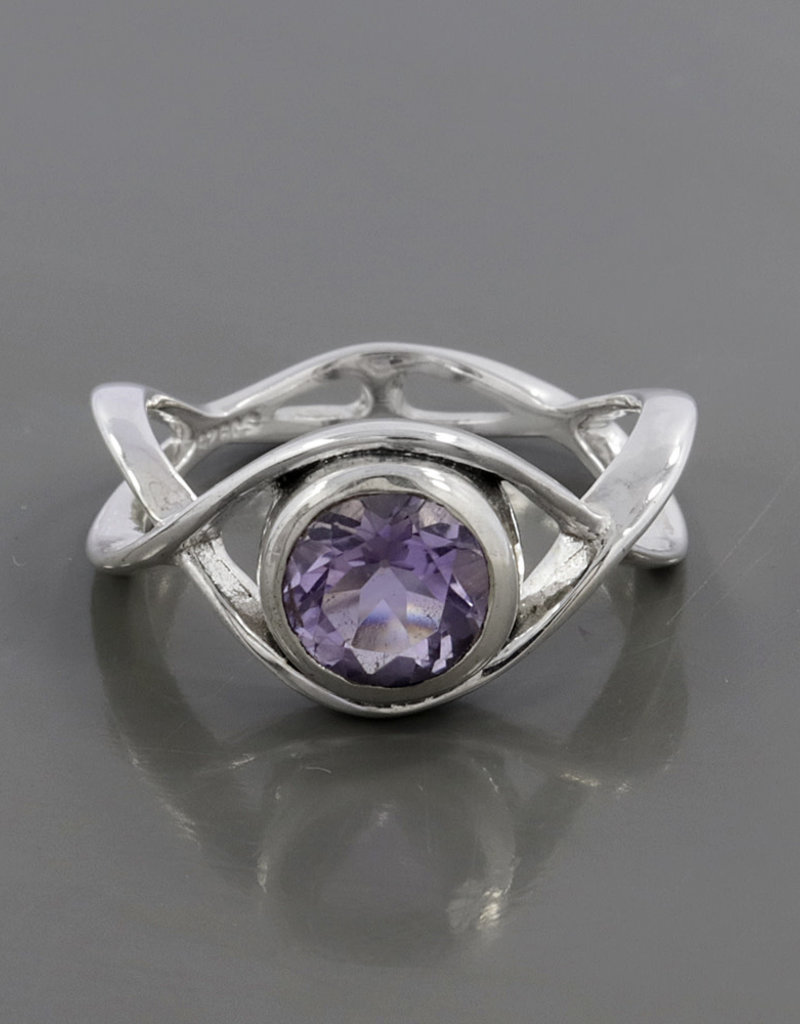 Amethyst and Sterling Silver Ring (Size 7) - R-22829-04-521