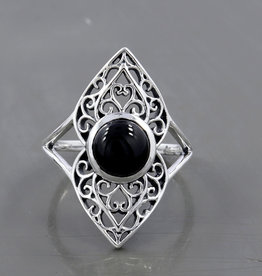 Black Onyx and Sterling Silver Ring (Size 8) - R-22903-03-37-2
