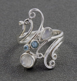 Rainbow Moonstone, Blue Topaz and Sterling Silver Ring (Size 8) - R-21529-18-42-1