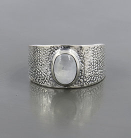 Rainbow Moonstone and Sterling Silver Ring (Size 6) - R-22935-65