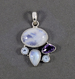 Rainbow Moonstone, Amethyst, Blue Topaz and Sterling Silver Pendant  PA-20333-39-654